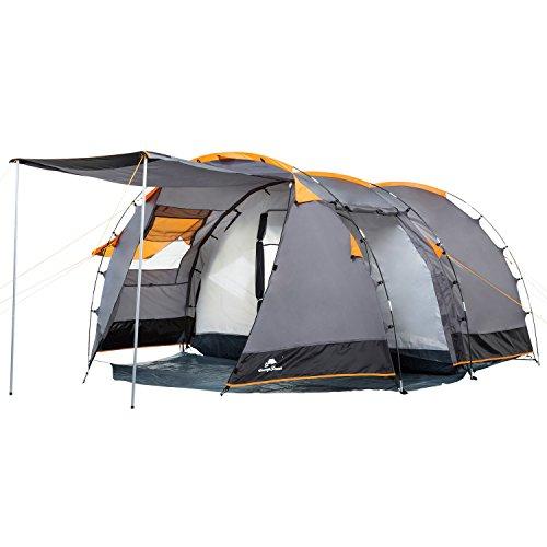 CampFeuer Tunnelzelt für 4 Personen | Großes Familienzelt mit 2 Eingängen und 3.000 mm Wassersäule | Gruppenzelt | grau | Campingzelt | So macht Camping Spaß!