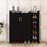 Homeaning Shoe Storage Cabinet with Adjustable Shelves Wooden Shoe Rack Cupboard Sideboard Organizer Stand Unit with 2 Doors
