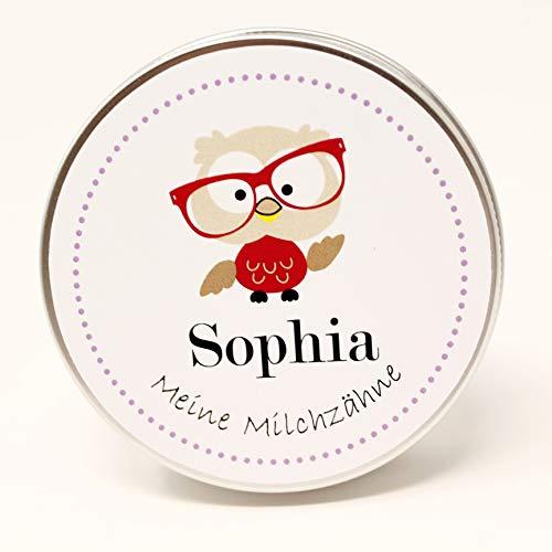 Zahndose mit Namen - Milchzahndose mit Namen für Mädchen - Zahndose Milchzähne - Zahnfee Wackelzahn Box - Schönes personalisiertes Geschenk zum Geburtstag für Kinder - Tier-Motiv Eule (Für Jungen Zahnfee Kissen)