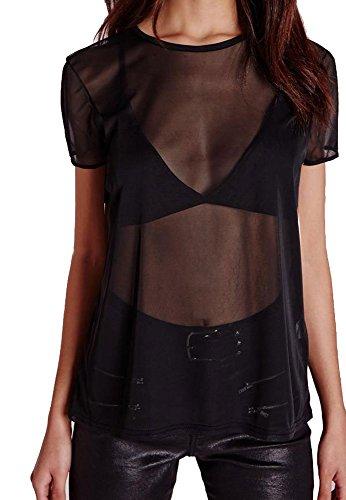 Re Tech UK Damen Kurzärmelig Durchsichtig Netz Durchsichtig Einfarbig Übergröße Baggy T-Shirt Schwarz