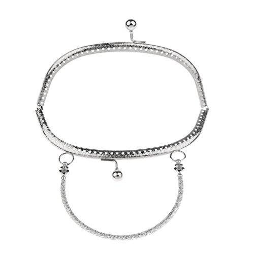 perfk Metall Taschenverschluss Taschengriffe Taschenbügel mit Strass Kristall Kuss Schließe Rahmen für Handtaschen Geldbörsen Abnedtasche Portemonnaie - Farbe 7 -