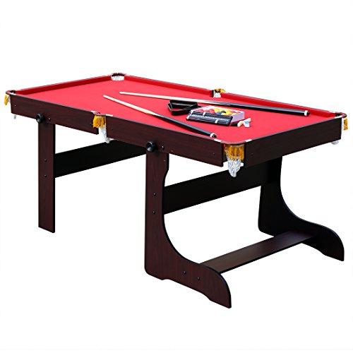 hj JH 6ft Tavolo da Biliardo Pieghevole Professionale con Palline da Biliardo - NUOVO billiard tablePanno Rosso