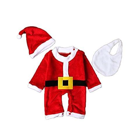 Bébé Barboteuse Noël,Feicuan Newborn Hat Bib Set rouge Manches longues Santa Claus Costumes 0-24 Months