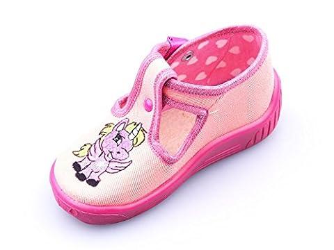 Einhorn Kinder Schuhe Baby Hausschuhe Süße Mädchen Lauflernschuhe Kleinkind Krabbelschuhe Laufen Lernen Laufschuhe Babyschuhe Clip-Verschluss Unicorn Motiv Textil Baumwolle Größe 26
