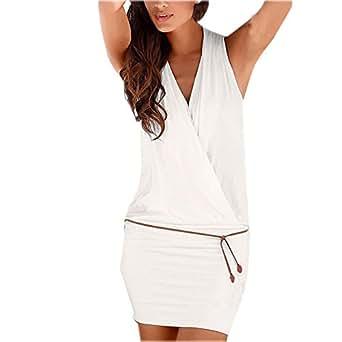 Damen ärmellos Normallacks V-Ausschnitt Reizvolle Casual Strickkleider Jerseykleider A-Linie Kleid Kleider Röcke Shirtkleider Sweatkleider Beachwear (EU38/(L), Weiß)