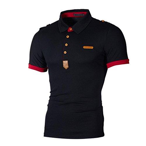 Polo Hemd Herren Casual Slim Top Kurzarm Bluse Kragen T-Shirt GreatestPAK,Schwarz,M -