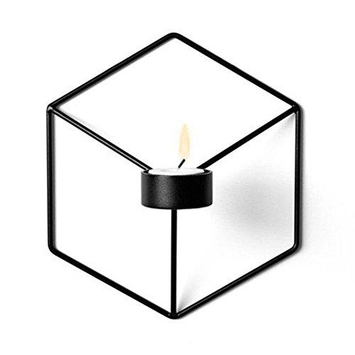 Gluckliy 3D Geometrischer Metall kerzenständer Wand Kerzenhalter Leuchter Home Decor (Schwarz) - Schwarz Home Decor