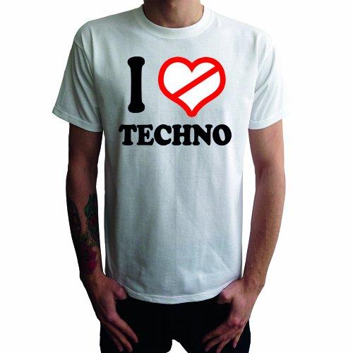 I don't love Techno Herren T-Shirt Weiß