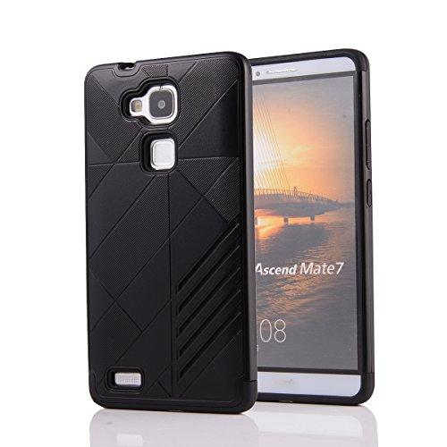 Huawei Ascend Mate 7 Custodia, Moonmini® 2 in 1 ibrida combinata Body Armor TPU con PC Custodia Cover per Huawei Ascend Mate 7 - Nero