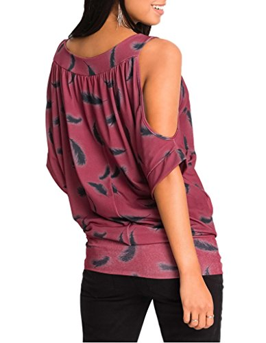 Smile YKK Modern Damen Shirt Oberteil T-shirts Casual Jumper Tops Pullover Mit Feder Druck Kurzarm Rot