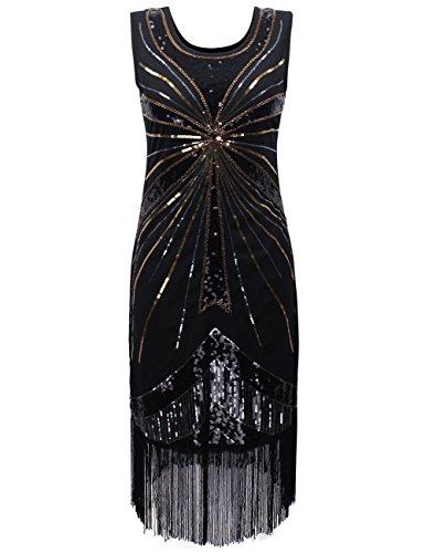 Prettyguide donne 1920 perle d'epoca paillettes fireworks frangia petarda vestito s nero