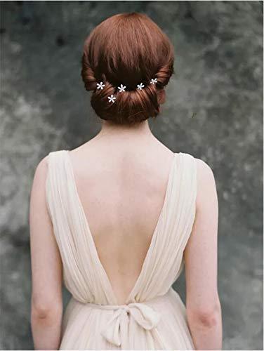 Handcess set di forcine per capelli dorate con fiori ideali per spose e damigelle confezione da 5