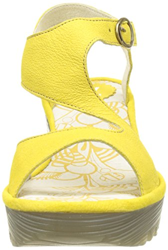 FLY London YANCA Damen Durchgängies Plateau Sandalen Gelb (lemon 022)