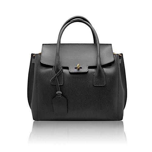 AURORA Sac portés main sac rabat à bandoulière avec métal brossé fermeture, cuir grainé rigide, fabriqué en Italie noir