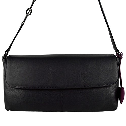 Mala Leather , Sac à main pour femme Rouge morado negro