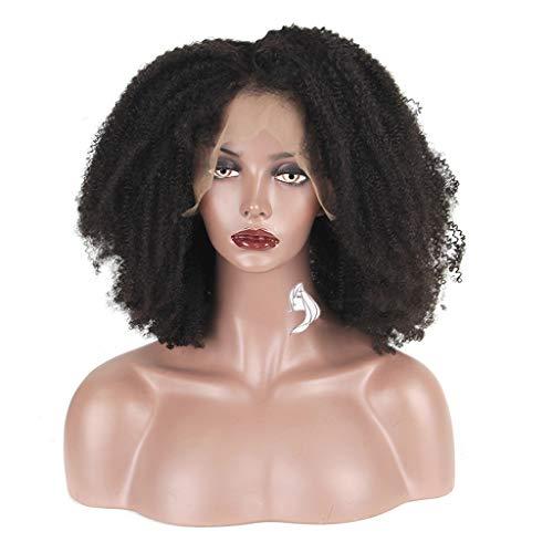Pigtails Kostüm Perücke - Curly Lace Front Perücke mit Baby-Haar Mongolian Remy Short Echthaar Perücken