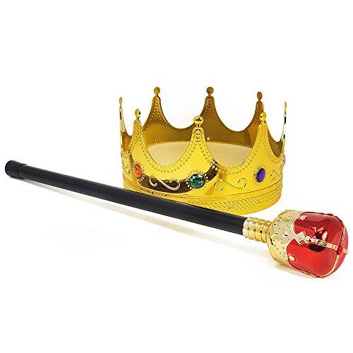 COM-FOUR® royales Set mit Zepter und Krone für König und Königinnen Kostüm für Fasching, Karneval und Halloween