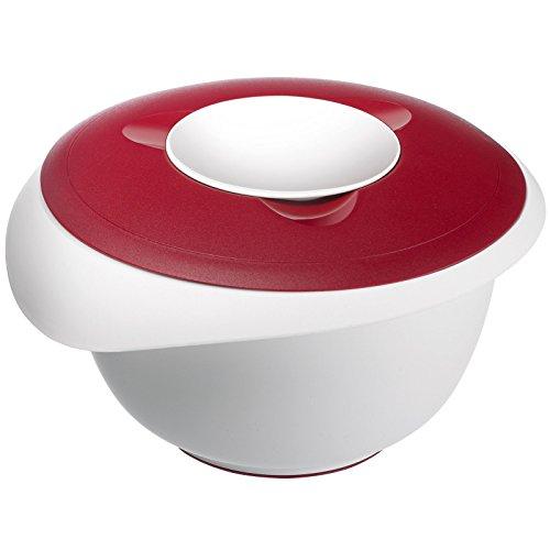 Westmark Rühr-/Backschüssel mit Spritzschutz, Deckel und Ausgießer, Kunststoff, Füllvolumen: 2,5 Liter, Weiß/Rot, 3153227R