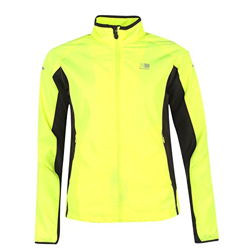 womens autumn winter running jacket. ladies hi viz safety fluorescent yellow reflective. high vsibility visible to drivers vehicles and road users from up o 200m. ships with free sports emergency id card from you id me worth £19.99.