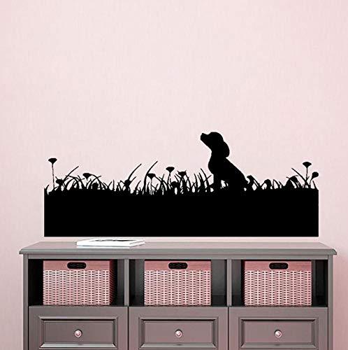 Wandtattoo Hund Auf Dem Rasen 90X34Cm Wandtatoo Wandsticker Wandaufkleber Wanddekoration Für Entfernbare Wohnzimmer Schlafzimmer Flur