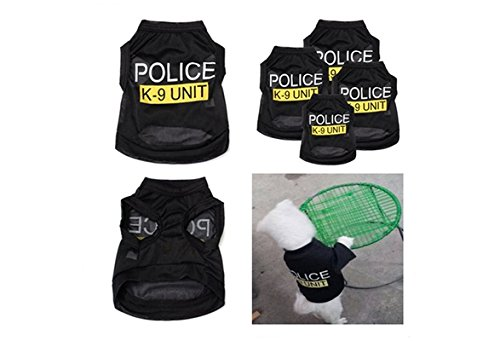 Handsome Po-lice K-9 Unit Pattern Pet T-Shirts Small Puppy Summer Comfortable Clothes Dog Apparel Costumes (color: Black,size: L) (Apparel Black Dog)
