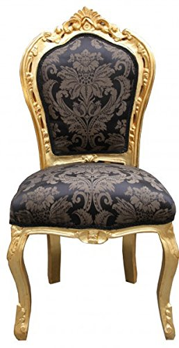 Casa Padrino Barock Esszimmer Stuhl Schwarz Muster/Gold - Antik Möbel