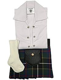 Cornish caza tartán bebé ajustable Kilt traje, camisa, Kilt manguera y Sporran 0–24meses