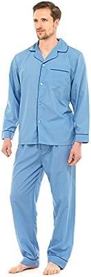 Hombre Largo Tradicional Pijama 2 Piezas Clásico Set Hospital Top + Pantalones Ropa De Noche Para Dormir Talla S - XXL
