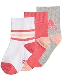 Adidas Calcetines Tobilleros 3PP Blanco Rosa Gris Junior DJ2268
