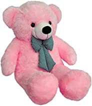 Zitto 3 Feet Huggable Teddy Bear with Neck Bow, Pink