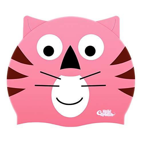 HeySplash Kinder Badekappe, Silikon Wasserdichte Badekappe mit hohen Elastizität für Kinder Jungen & Mädchen - Rosa Tiger