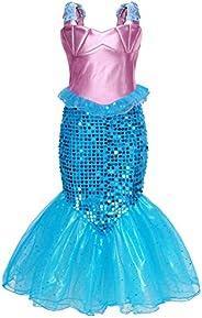 Jurebecia Princesa Vestidos Niñas Sirenita Disfraz Fiesta de Cumpleaños Mermaid Manga Larga Outfit con Accesor
