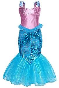 AmzBarley Disfraz Sirena Niña,Disfraz Pequeña