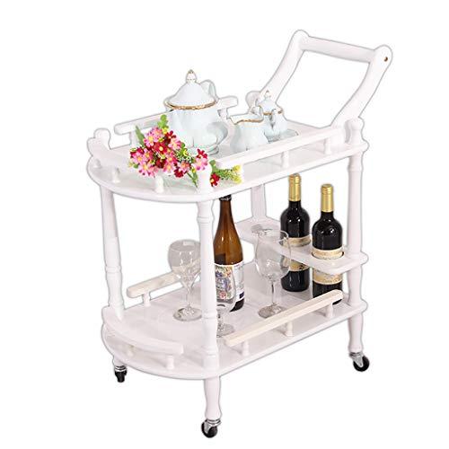 Lagerung Servierwagen, Multifunktions-Utility Full-Solid Holzwagen, Bewegen Weinwagen Teewagen, für Hausküche Hotel Restaurant 2 Stile