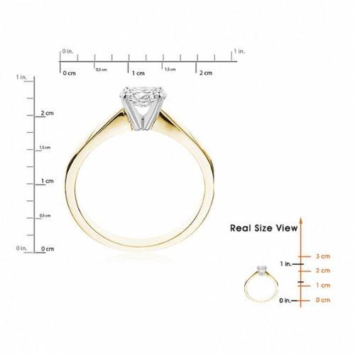 Diamond Manufacturers, Damen, Verlobungsring mit 0.25 Karat F/VVS1 feinem und zertifiziertem Ovaldiamant in 18k Gelbgold, Gr. 41 - 6