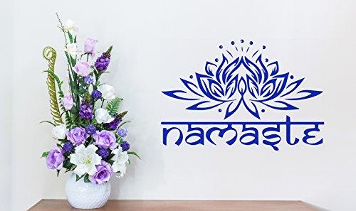 Namaste India de la Paz azul flor de loto Padma Yoga vinilo adhesivo decorativo para pared