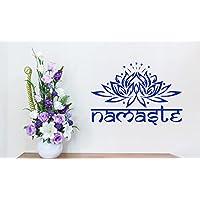 Namaste Blue Lotus Flower Padma Yoga-Adesivo da parete in vinile, motivo