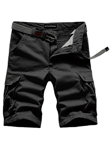 Menschwear Herren Vintage Cargo Shorts Bermuda Kurze Hose Sommer Kurze Hose (31, Schwarz)