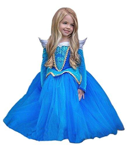 Eyekepper Dornroeschen Aurora Kostuem-Geburtstag-Party verkleiden 110cm (Aurora Blau Kleid)