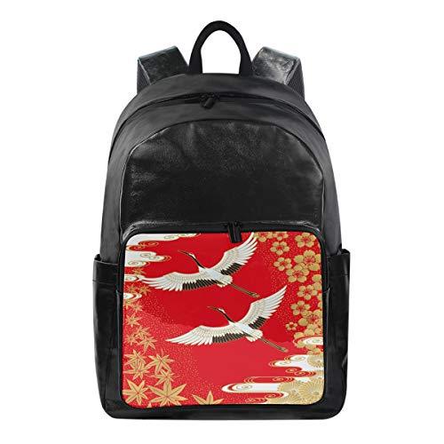 Lustiger Rucksack Japanischer Vogel Kran-Schultertasche Wandern Camping Daypack Schule Reise Computer Tasche für Kinder Jungen Mädchen Männer Frauen - Japanische Schule, Kleidung