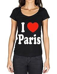 I Love Paris Noir T-shirt Femme - Noir, t shirt femme,cadeau