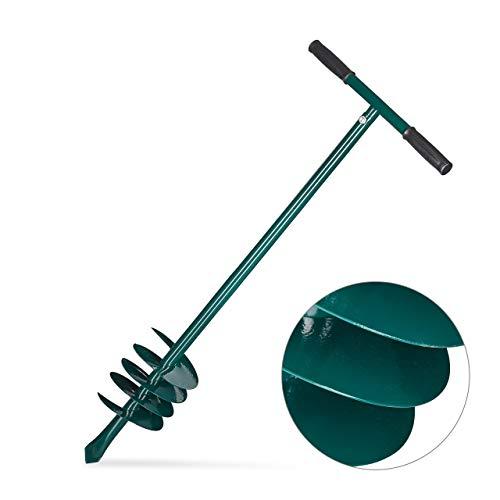 Relaxdays Erdbohrer Hand, Abnehmbarer Griff, Lochbohrer, Bohrschnecke 140mm, Pflanzen, Zaun, Pfosten, 88cm, Eisen, grün