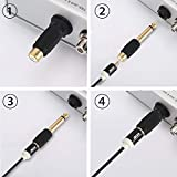VCE 6 Pack 6.35mm Mono Plug Male to RCA Female Audio Adapter