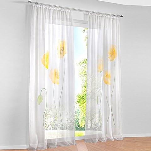 Hoomall Décoration de Chambre Rideaux Intérieur de Fenêtre Rideau Imprimé Fleur Jaune 150cmx225cm Une Pièce