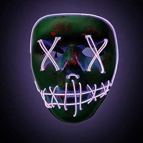 Cathy02Marshall Halloween Skeleton LED Mask LED Halloween Masken,3V EL Wire Erschreckend Erwachsene Neon Leuchten Maske für Festival, Cosplay, Halloween, Kostüm, Batterie ()