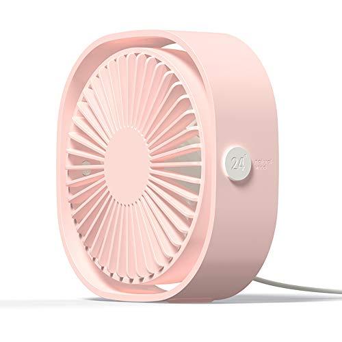 Simpeak Mini USB Ventilator Leise 3 Speed Betrieb Pink, 360 Grad Drehung Fan USB Lüfter Ventilator klein für Büro, Camping, Picknick, Ausflüge (Kleine Fan-pink)