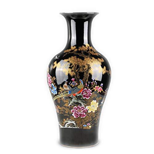 lvluoye vaso in ceramica, vaso da terra jingdezhen, ceramica di grandi dimensioni, nuovo cinese casa soggiorno composizione floreale, mobile tv decorazione,black