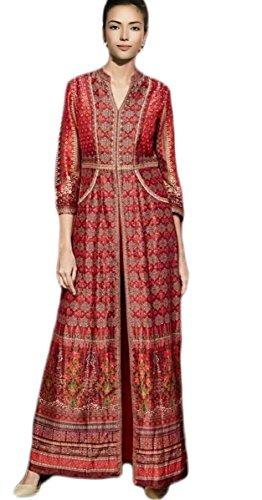 Anasha Fashions Pakistani Style Digital Print Satin Gown Sherwani Pattern