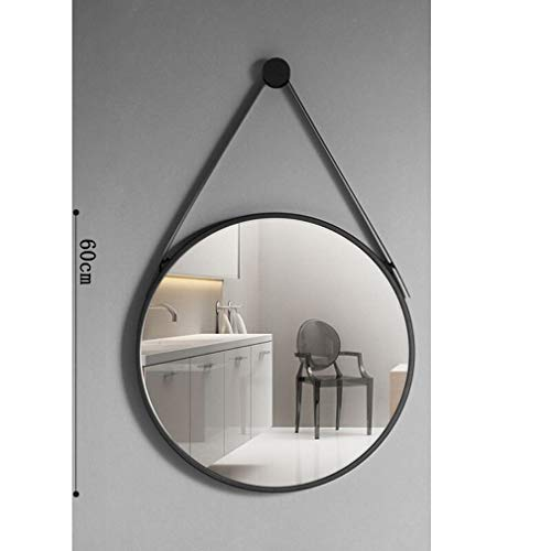 MIRROEHUTT Espejo colgante, espejo de maquillaje de tocador redondo for baño, diámetro negro 40/50/60/70...