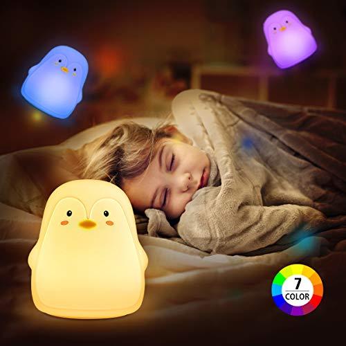 Elfeland Nachtlicht Baby, Nachtlampe Nachttischlampe Nachtleuchte Schlummerleuchte Touch Lampe 7 Farbmöglichkeiten, 2 Lichtmodi, Sicheres ABS& Silikon, USB aufladbar, Pinguin für Kind Kinderzimmer